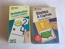 Vintage Mixed Lot Of (2) 1980's Flashcards Multiplication States And Capitals