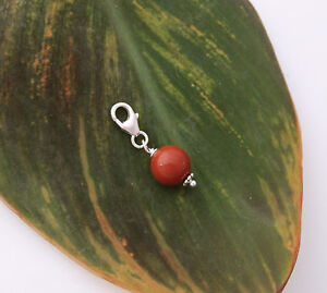 925 sterling silver 8mm red FLAME JASPER gemstone bead clip on charm pendant