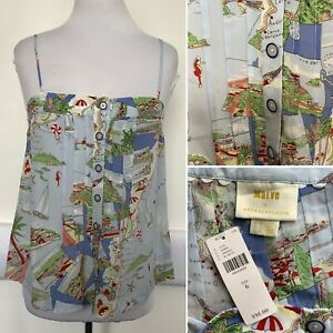Preloved - Maeve By Anthropologie Map Print Camisole Top - Size 10