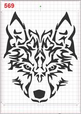 Tribal Wolf Face Stencil MYLAR A4 sheet strong reusable wall art craft deco