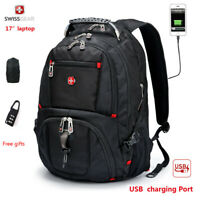 "SwissGear Multifunctional 17"" laptop backpack Waterproof Travel Bag USB Charge"