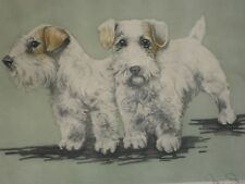 "Sealyham Cesky terrier etching Le #64/350 pencil signed 15x17"" dog"