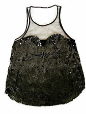 WHISTLES RARE BLACK SEQUIN SWEETHEART BODICE SHEER MESH VEST Party TOP 6 8 XS