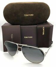 TOM FORD Sunglasses ERIN TF 466 17D Silver Aviator Frames Grey Polarized Lenses