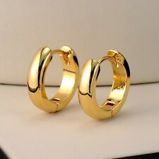18k Yellow Gold Filled Smooth Earrings 14MM Women's Hoop 3mm GF Wedding Jewelry