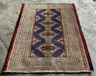Authentic Hand Knotted Afghan Turkmon Sara Wool Area Rug 3 x 2 Ft (22242 KBN)