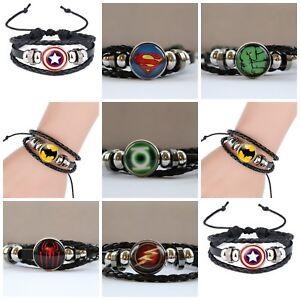 Boys Mens Super Hero Bracelet Wristband Superman Batman Flash Spiderman Hulk