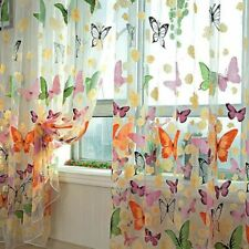 Tulle Curtain Transparent Valances Window Drapes Bedroom Butterfly Fabric Decors