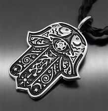 Egypt HAMSA HAND Good Luck Silver Men Women Pewter Pendant with Free Necklace