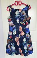 New Blue Floral Oasis Dress Size 10 UK 36 EU Roses gorgeous for occasion wedding