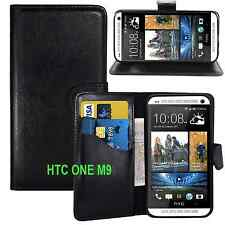 BLACK WALLET CARD SLOT stand GEL CASE FOR HTC ONE M9 UK FREE DISPATCH