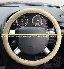 UNIVERSAL MERCEDES FAUX LEATHER LOOK BEIGE STEERING WHEEL COVER