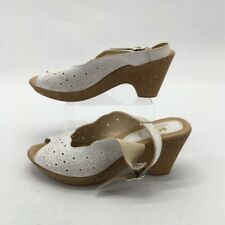 Spring Step Womens Sandals White Floral Wedge Heel Buckle Leather 9 EUR 40