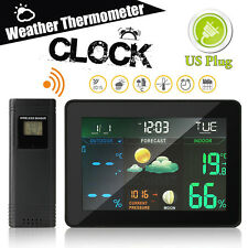 Digital Wireless Weather Station Temp Thermometer Humidity Calendar Alarm Clock