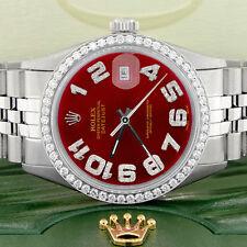 Rolex Datejust 36mm Steel Jubilee w/Imperial Red Diamond Dial & Diamond Bezel