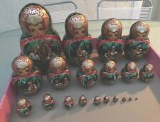 """1997 Unique Hand Painted Lacquer Wood Russian Nesting Dolls Set of 20 Signed 12"""""""