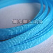 3~12mm Light Blue Tight Braided PET Expandable Sleeving Cable Wire Sheath lot