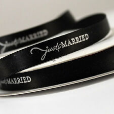 """Just Married 3/8"""" Wedding Favor Ribbon, 2 Sizes, 28 Colors!"""