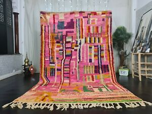 "Boujad Handmade Moroccan Vintage Rug 6'3""x9'7"" Abstract Pink Green Berber Carpet"