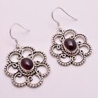 925 Sterling Silver Dangle Earrings Natural Garnet Handcrafted Women Jewelry CE9