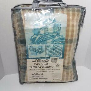 """Vtg St. Mary's Tan Plaid Acyrlic Throw Blanket Fringed Made in U.S.A. 50"""" x 60"""""""