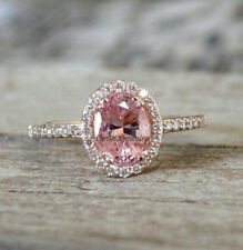 2Ct Oval-Cut Delicated Pink Diamond Halo Engagement Ring 14k Rose Gold Over