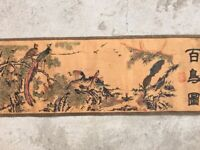 Collect Old Decor art Chinese Scroll Painting hundred birds figure 百鸟图