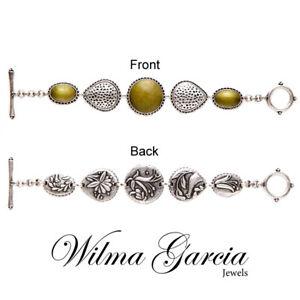 WILMA GARCIA Luxury Silver Coloured Antique Look Reversible Bracelet