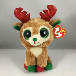 Ty Beanie Boos - ALPINE the Christmas Reindeer (6 Inch) (Red Antlers) NEW MWMTs
