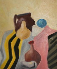 Post cubist oil painting still life with vessels signed