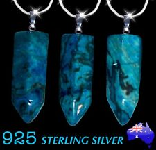 Natural Stone Teal Blue Onyx Healing Point Pendant 925 Sterling Silver Necklace