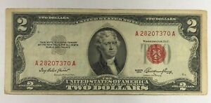$2 RED SEAL NOTES  • WELL CIRCULATED ASSORTED DATES 1 NOTE EACH LOT