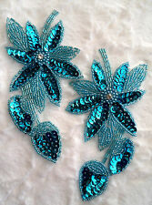 XR51 Turquoise Floral Mirror Pair Beaded Sequin Appliques Flower Patches 6""