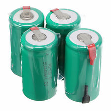4pcs C 1.2V 3000mAh Ni-Cd NiCd Rechargeable Batteries With Tap,Green