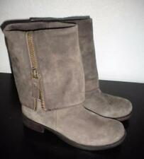 NINE WEST WOMEN'S 6 1/2 M BROWN SUEDE THOMASINA MID CALF ROUND TOE FASHION BOOTS