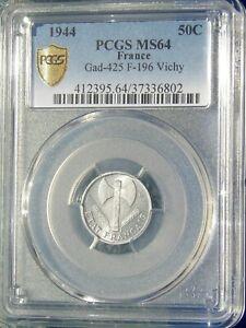 RARE en l'état, 50 centimes Francisque Légère 1944 PARIS, SPL+/FDC, PCGS MS64