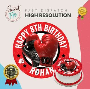 BOXING EDIBLE ROUND BIRTHDAY CAKE TOPPER DECORATION PERSONALISED
