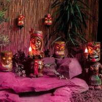 Solar Power Tiki Totem Pole Aztec LED Garden Path Light | Stake Statue Torch