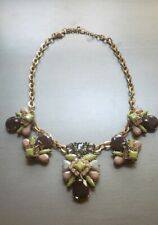 J.Crew Mixed Stones Crystal Rhinestones Necklace Statement Maroon Green Blue 20""