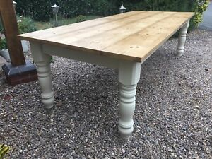 6 7 8 9 ft Farmhouse Dining table with EXTRA WIDE LEGS Solid Pine Handmade.