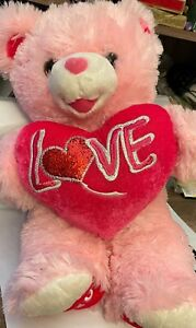"Dan Dee Sweetheart Teddy 19"" Plush Pink Bear Stuffed Animal 2018 Love Heart"
