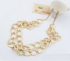 Gold Metal 2 Layered Chunky Link Chain Long Statement Necklace Fashion Bib N171