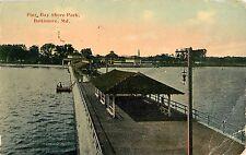 1914 The Pier at Bay Shore Park, Baltimore, Maryland Postcard