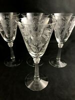 "🟩 Set of 4 Fostoria Elegant Etched Glass SHIRLEY Pattern 7 1/2"" Water Goblets"