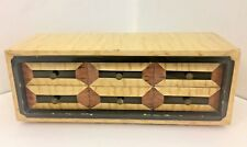 FRENCH CABINET Mid-Century 6 Draw Veneered Desktop Chest with Brass Knobs 1950s