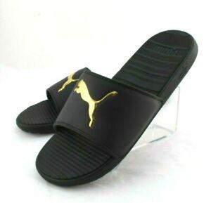 New PUMA Cool Cat V Size 10 Black with Gold Logo Men's Slide Sandals