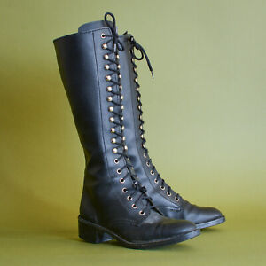 Black Laced Leather Calf Boots Heeled Vintage Women's UK 5 EUR 38 US 7