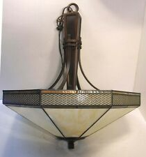 ARTS & CRAFTS MISSION PRAIRIE CEILING LIGHT FIXTURE SLAG STAINED GLASS SHADE
