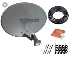 SATELLITE DISH KIT + SKY HD QUAD LNB & 10M TWIN BLACK COAX CABLE