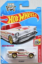 HOT WHEELS 2018 HOLIDAY RACERS '57 CHEVY #4/6 WHITE